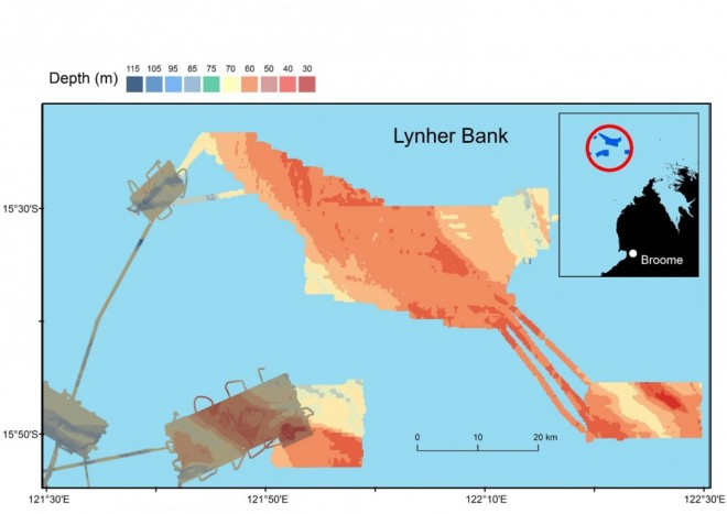 Preliminary map of depth across the study area built from high resolution multibeam sonar data.